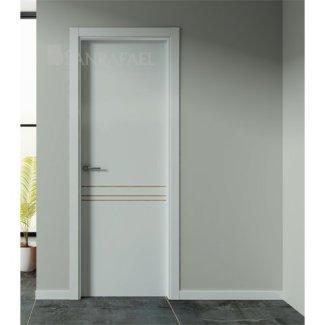 Puerta de diseño lacado con aluminio efecto roble