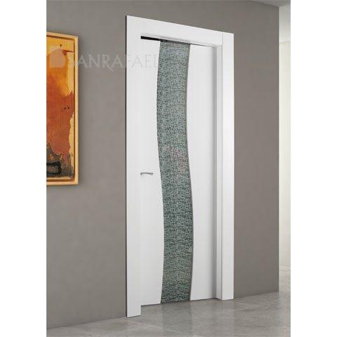 Puerta lacado cristal templado laminado tela