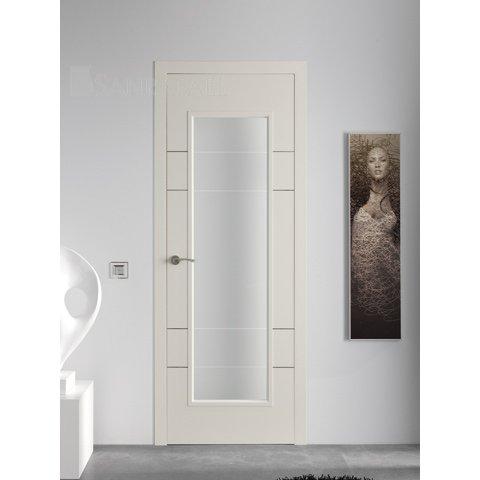 Puerta vidriera lacada con acanalados en plata envejecida