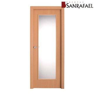 Puerta vidriera efecto madera cerezo