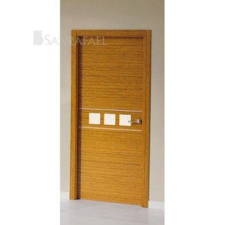 Puerta de diseño en madera teka uniforme decoración aluminio y lacada