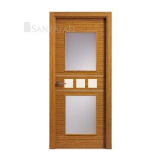 Puerta vidriera en madera teka uniforme, decoración aluminio y lacada