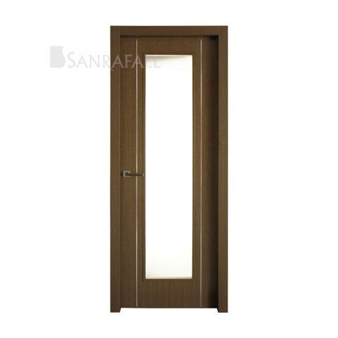 Puerta vidriera en madera wengué decoración aluminio