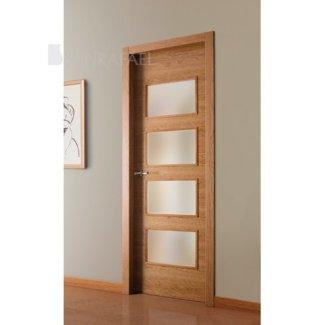 Puerta vidriera de madera de cerezo