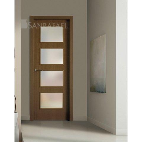 Puerta vidriera en madera wengue