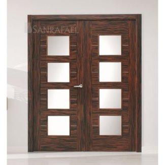 Puerta lisa doble en madera de ébano
