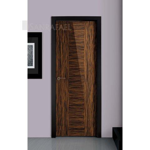 Puerta lisa en madera ébano uniforme alto brillo