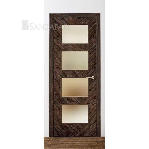 Puerta lisa vidriera en madera ébano uniforme