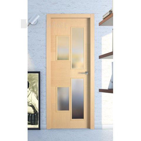 Puerta lisa vidriera en madera roble decapé